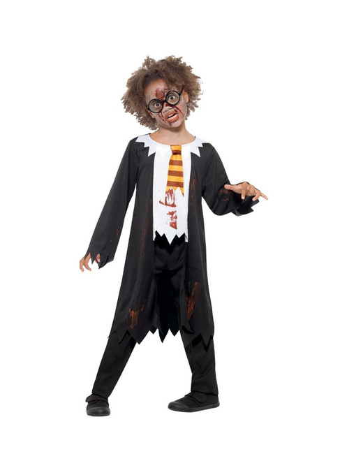 Zombie Student Costume, Halloween Child Fancy Dress, Medium Age 7-9