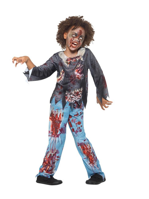 Zombie Child Costume, Halloween Child Fancy Dress, Large Age 10-12