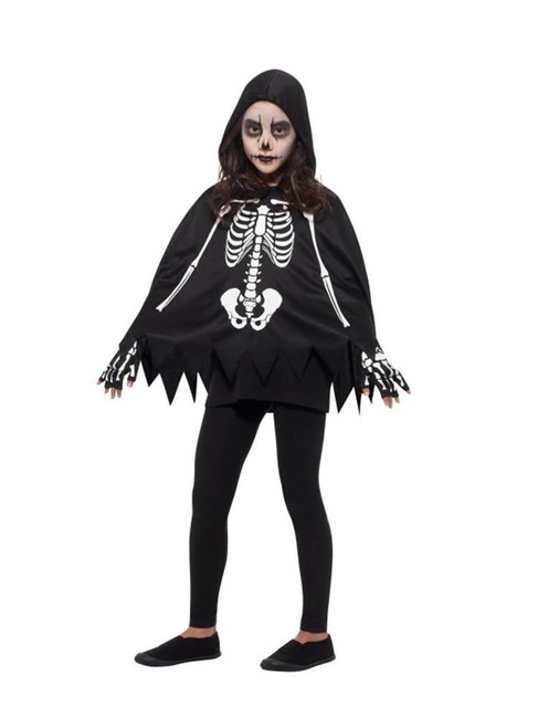 Skeleton Kit Black & White with Poncho & Gloves,Halloween Child Fancy Dress