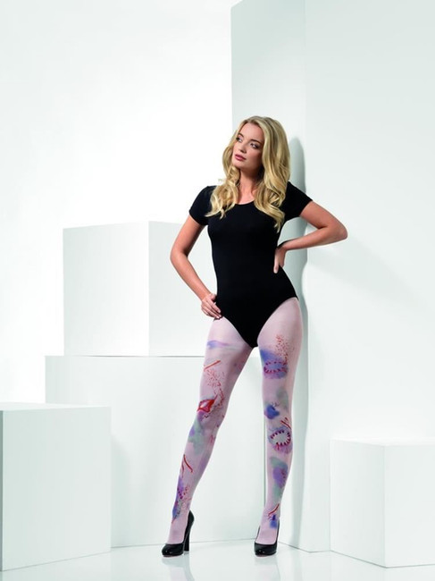 Zombie Attack Opaque Tights, Halloween Fever Hosiery, UK Size 6-14