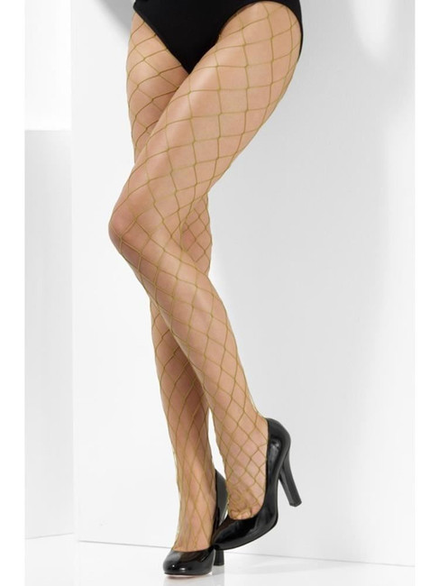 Khaki Diamond Net Tights, Fever Hosiery, UK Size 6-18