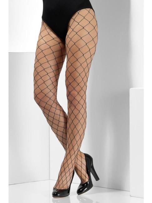 Teal Diamond Net Tights, Fever Hosiery, UK Size 6-18