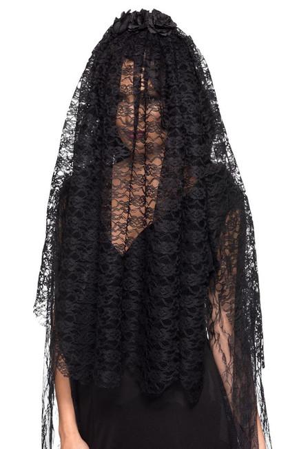 Black Widow Veil Black with Flowers,Halloween Fancy Dress Accessories