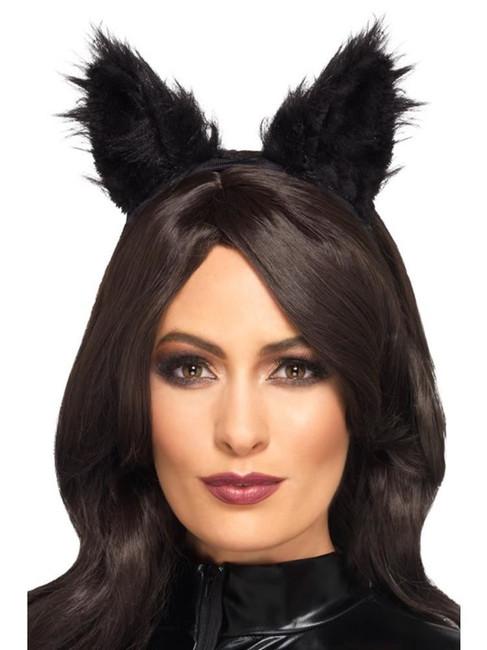 Long Pile Fur Cat Ears Black, Halloween Fancy Dress Accessories, One Size