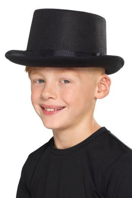 Kids Top Hat Black, Boys Fancy Dress, One Size