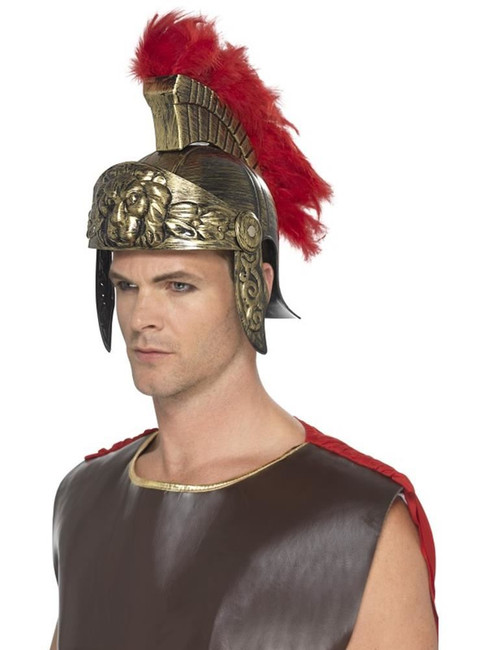 Roman Spartan Helmet Gold & Red Plastic,Detachable Feather Plume,Fancy Dress