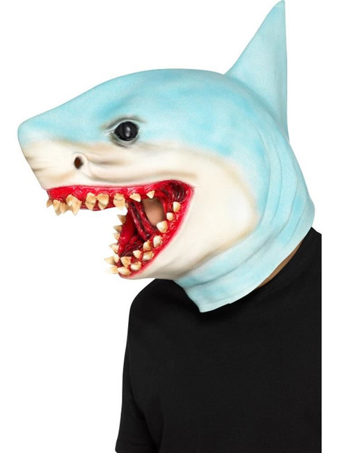 Shark Overhead Mask Blue Latex, Party Animals Fancy Dress, One Size