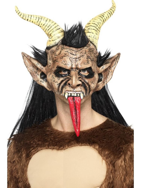 Beast/Krampus Demon Mask Brown,Overhead/Hair & Horns,Halloween Fancy Dress