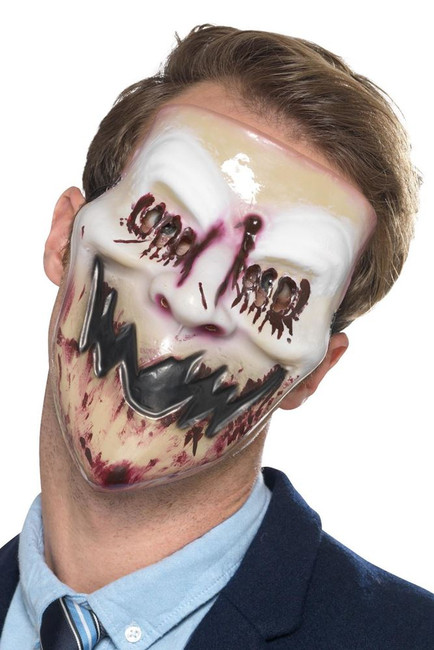 Blood Smile Mask White & Red, Halloween Fancy Dress Accessories, One Size