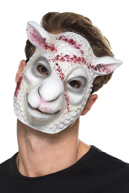 Evil Sheep Killer Mask White, Halloween Fancy Dress Accessories, One Size