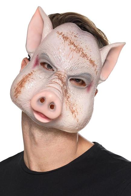 Evil Pig Killer Mask Pink, Halloween Fancy Dress Accessories, One Size