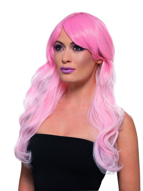 Fashion Ombre Wig Wavy Long Pink Heat Resistant/Styleable,