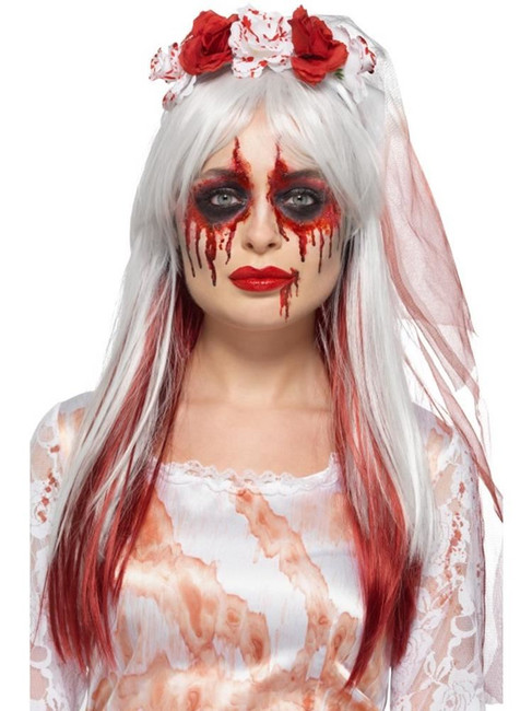 Blood Drip Bride Facepaint Kit,3 Colours Blood Tube Glitter, Brush & Sponge