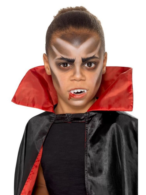 Kids Halloween Vampire Facepaint Kit 3 Colours Fangs Stipple Sponge & Brush