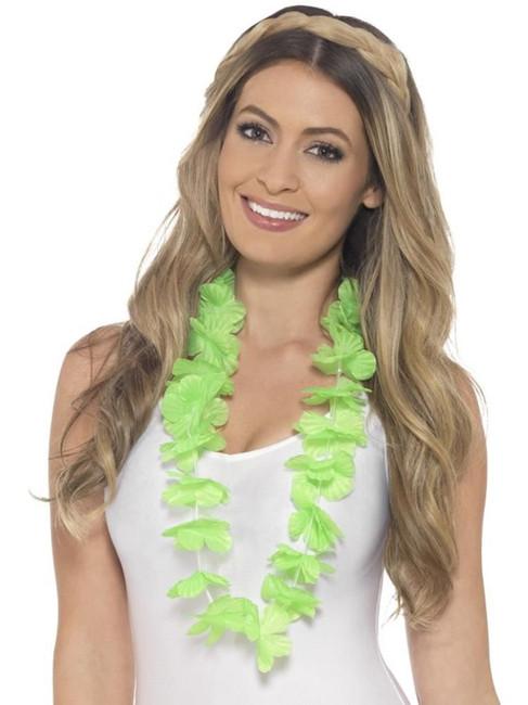 Hawaiian Lei, Adult Fancy Dress Costumes, NEON GREEN