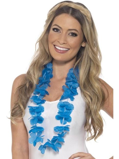 Hawaiian Lei, Adult Fancy Dress Costumes, NEON BLUE