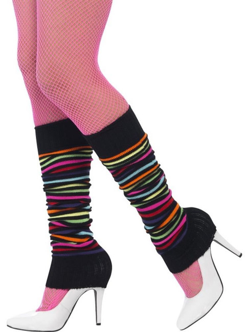 Legwarmers, Black with Neon Stripes