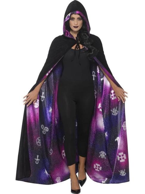 Deluxe Reversible Galaxy Ouija Cape, Halloween Adult Fancy Dress. One Size