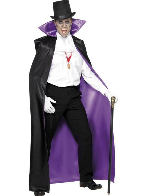Count Reversible Cape, Black and Purple, One Size