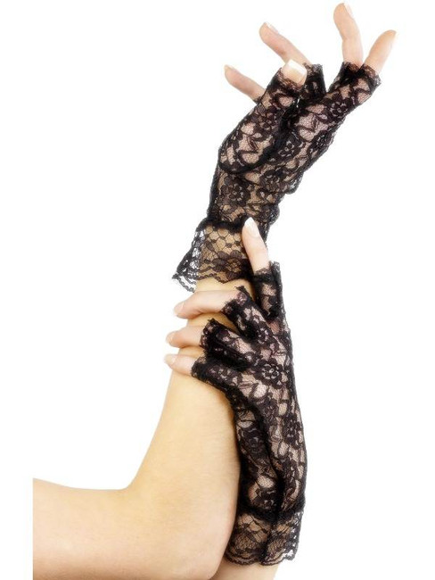 Fingerless Lace Gloves, One Size