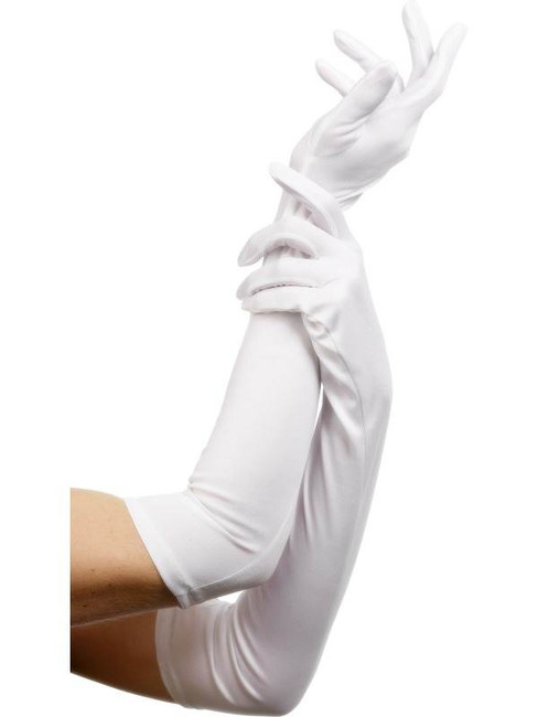 Gloves White Long, One Size