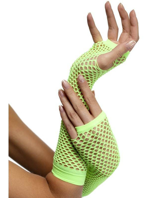 Fishnet Gloves Neon Green, One Size