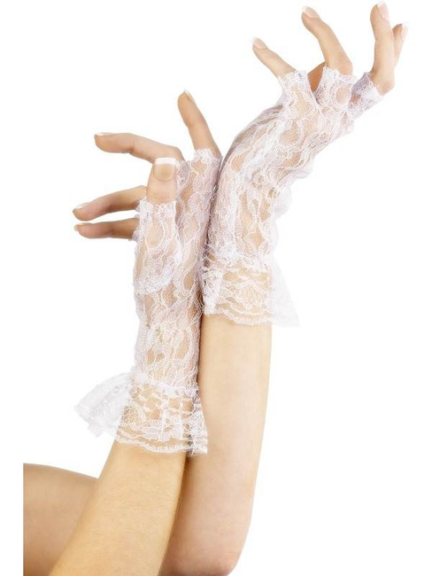 Fingerless Lace Gloves, White