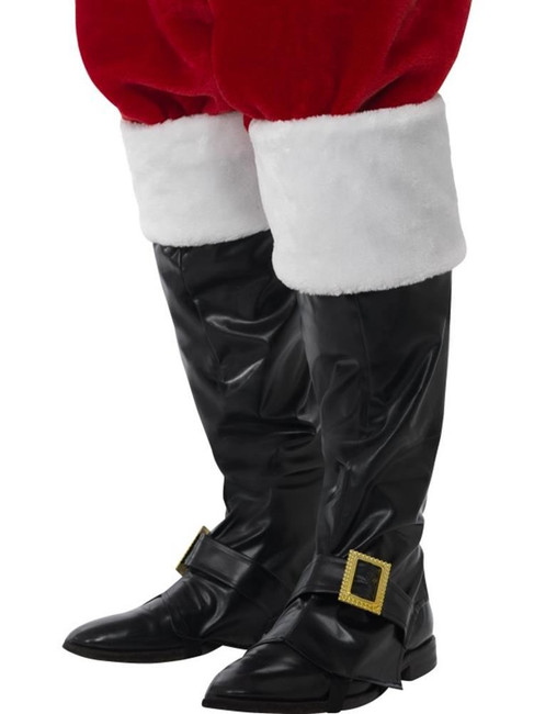 Santa Boot Covers, Historical Fancy Dress, BLACK