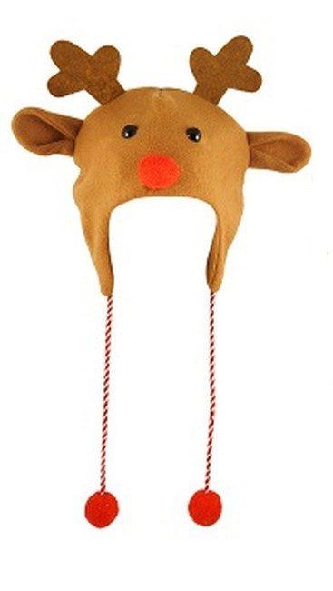 Reindeer Christmas Novelty Hat with Pom Poms, Fun Novelty/Xmas Gift
