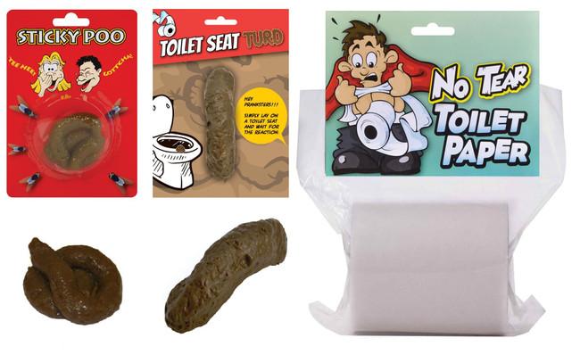 Fake Poo & No Tear Toilet Paper Gift Set, Secret Santa, Christmas Joke/Novelty Turd/Fun Prank