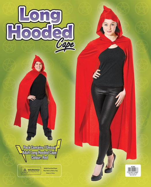 LONG RED HOODED RED RIDING HOOD CAPE, DEVIL/DEMON/HALLOWEEN FANCY DRESS COSTUME