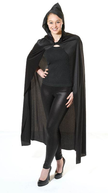 LONG BLACK HOODED CAPE, HALLOWEEN FANCY DRESS COSTUME