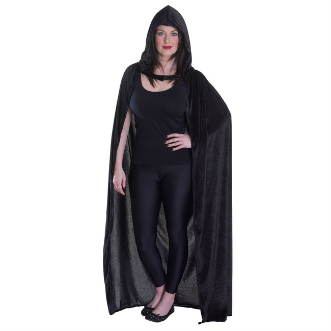 Velvet Black Hooded Cloak, Unisex, Halloween Fancy Dress
