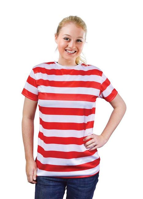 STRIPED LADIES SHIRT. RED/WHITE, WALLIES FANCY DRESS