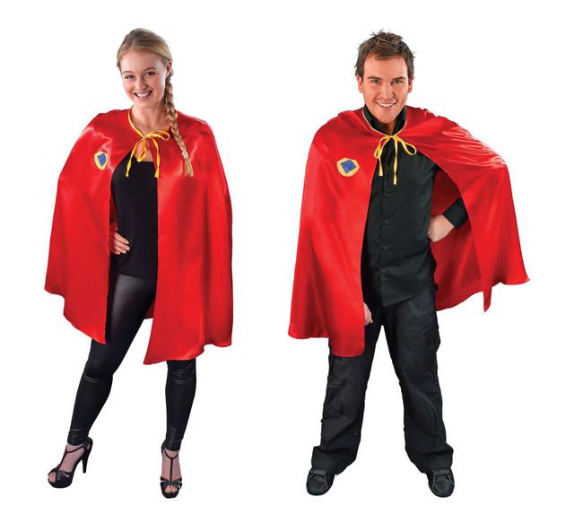 RED UNISEX SUPERHERO CAPE, FANCY DRESS COSTUME ACCESSORY