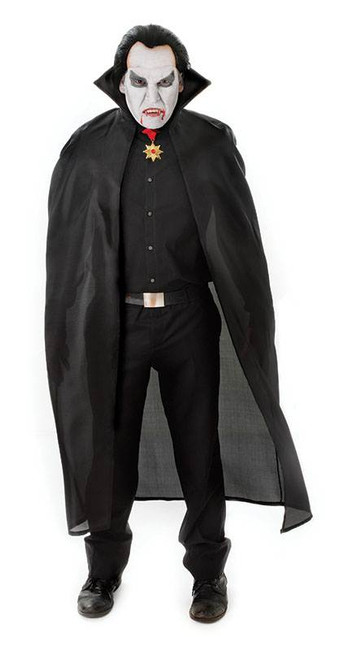 "56"" NYLON DRACULA CAPE. BLACK VAMPIRE HALLOWEEN CAPE, FANCY DRESS COSTUME"