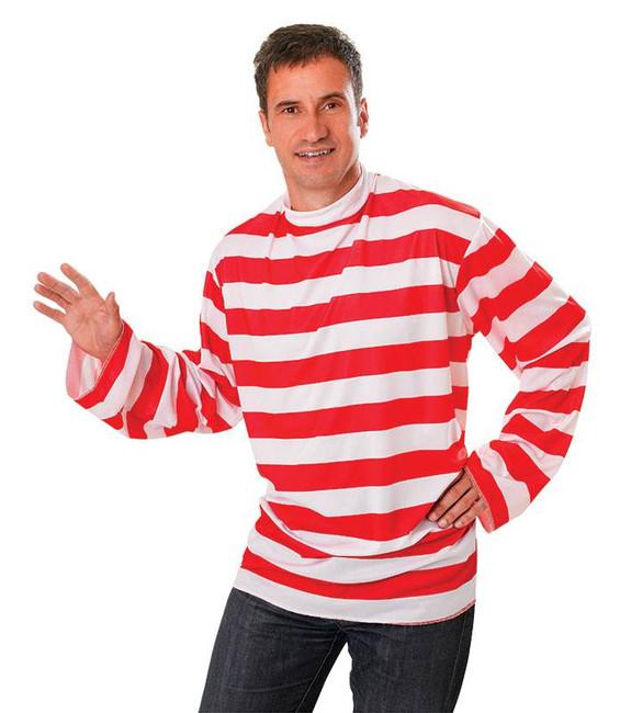 MENS RED/WHITE STRIPED SHIRT, FANCY DRESS COSTUME