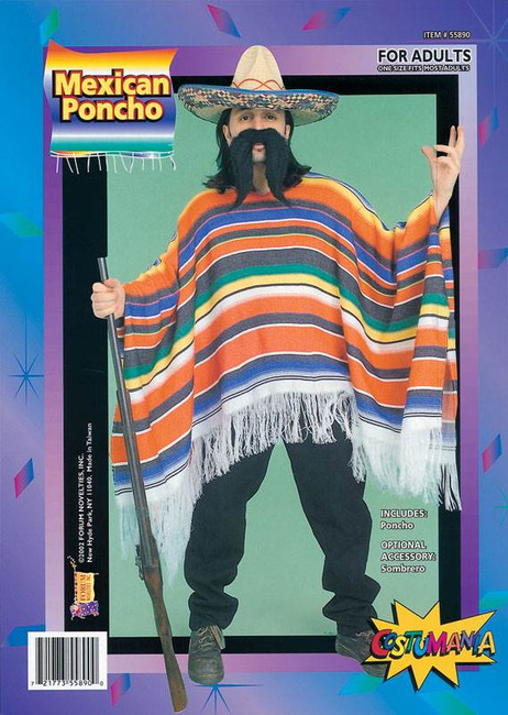 MEXICAN PONCHO. PACKAGED, FANCY DRESS COSTUME
