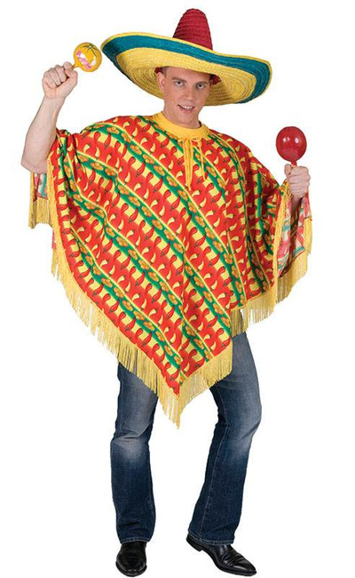 MEXICAN PONCHO - CHILLI PRINT, FANCY DRESS COSTUME
