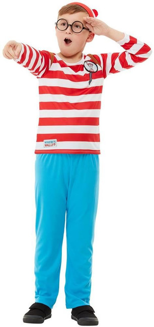 Where's Wally? Deluxe Costume, Boys Fancy Dress, Large Age 10-12