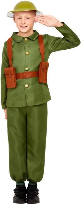 WW1 Soldier Costume, Boys Fancy Dress, Medium Age 7-9