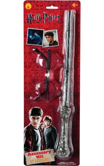 Harry Potter blister kit; wand & glasses Costume, Fancy Dress, One Size
