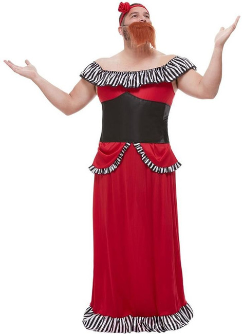 Bearded Lady Costume, Mens Fancy Dress, XL