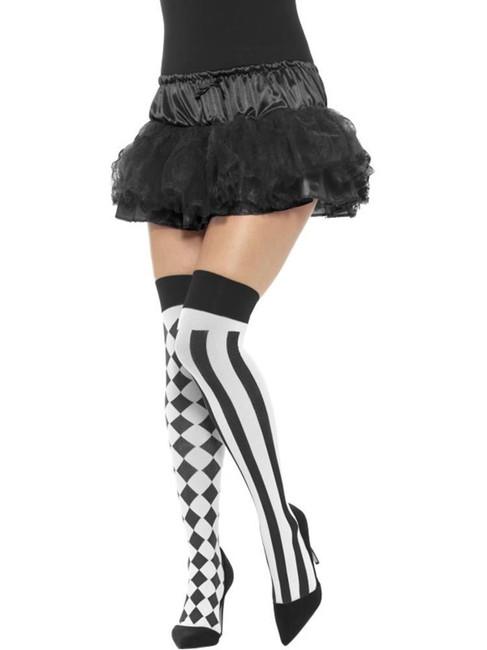 White & Black Harlequin Hold Ups, Funnyside Fancy Dress. One Size