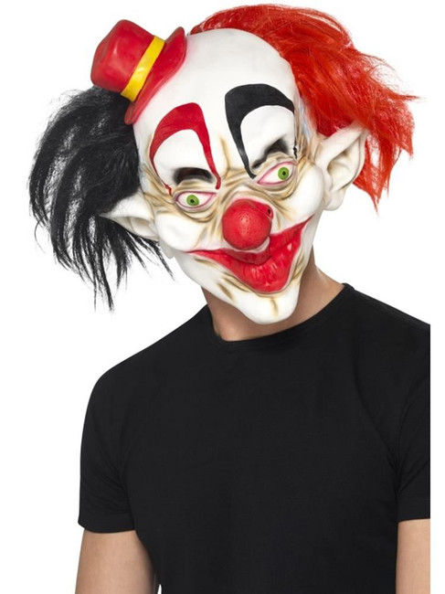 Creepy Clown Mask, Halloween Fancy Dress, BLACK & RED