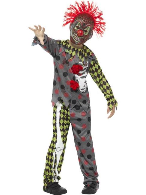 Multi Deluxe Clown Costume,Halloween  Fancy Dress,Large Age 10-12