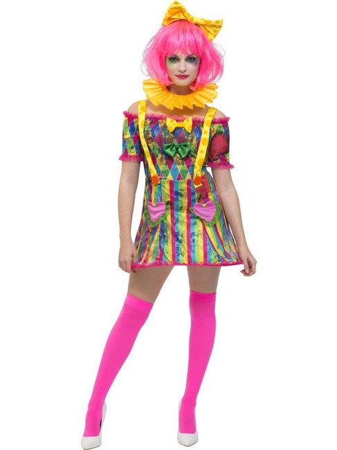 Multi Fever Patchwork Clown Costume, Fever Fancy Dress. UK Size 4-6