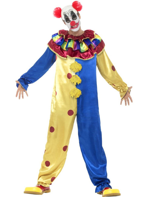 Goosebumps Clown Costume with Jumpsuit, Large, Halloween Fancy Dress, Mens