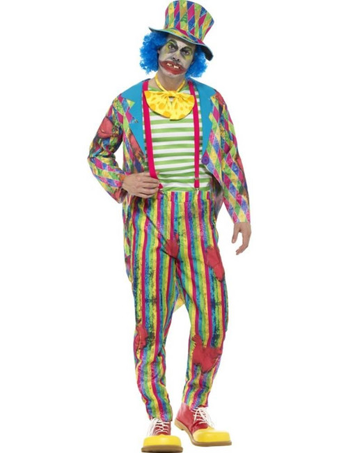Deluxe Patchwork Clown Costume,Halloween Cirque Sinister Fancy Dress,Large