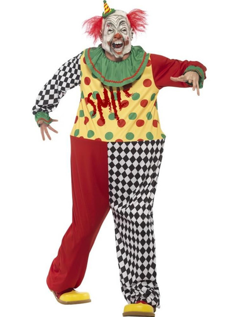 Sinister Clown Costume, Medium, Halloween Fancy Dress, Mens
